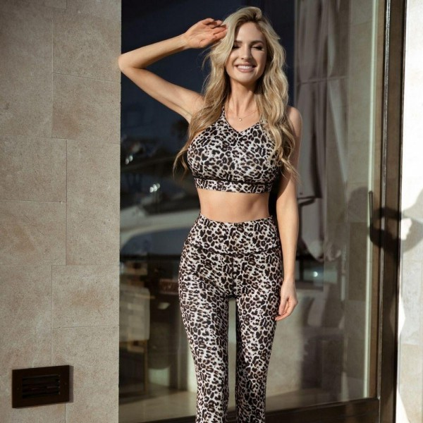 Cheetah Print Activewear Matching Set. Matching Set Includes Capri Leggings and Sports Bra. (6 Pack)  • High neckline • Removable padding that provides support & shaping • Racer-back design • Moisture wicking fabric • 4-way stretch for a move-with-you feel • Pull over styling •Great for low-medium impact workouts - High Rise Elastisized Waistband   Composition: 46% Polyester, 41% Nylon, 13% Spandex  Pack Breakdown: 6 Sets/pack. 2S: 2M: 2L