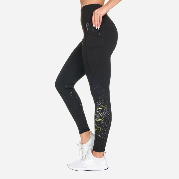 "Athletic Leggings Featuring Reflective Dot Pattern. (6 Pack)  - Spandex Compression Fit - Breathable Moisture Wicking Fabric - High Waist Design - Features Two Side Pockets - Approximately 37"" L - Inseam Approximately 27""  - 6 Pairs Per Pack - Sizes: 1 S / 2 M / 2 L / 1 XL"