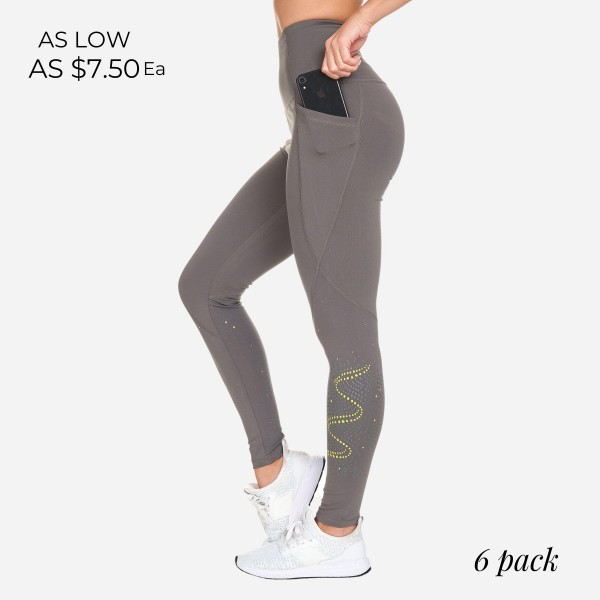 """Athletic Leggings Featuring Reflective Dot Pattern. (6 Pack)  - Spandex Compression Fit - Breathable Moisture Wicking Fabric - High Waist Design - Features Two Side Pockets - Approximately 37"""" L - Inseam Approximately 27""""  - 6 Pairs Per Pack - Sizes: 1 S / 2 M / 2 L / 1 XL"""