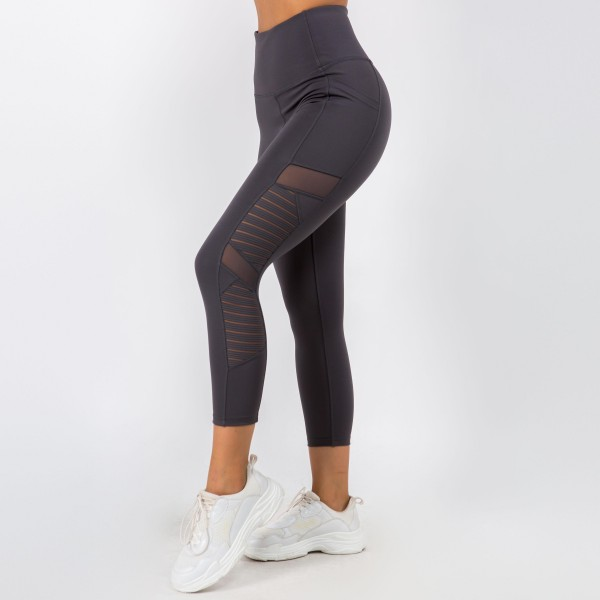 Athletic Capri Leggings Featuring Side Pocket and Mesh Accents. (6 Pack)  - Spandex Compression Fit - Breathable Moisture Wicking Fabric - High Waist Design - Features Two Side Pockets - 6 Pairs Per Pack - Sizes: 1 S / 2 M / 2 L / 1 XL