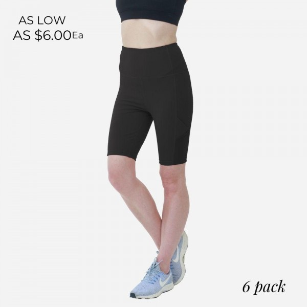 Athletic Biker Shorts Featuring Mesh Details. (6 Pack)   - Spandex Compression Fit - Breathable Moisture Wicking Fabric - Two Side Pockets - High Waist Design  - 6 Pairs of Shorts Per Pack - Sizes: 1 S / 2 M / 2 L / 1 XL