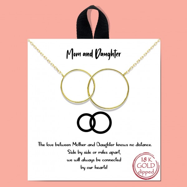 """Mom & Daughter Two Interlocking Circle Necklace.   - Approximately 18"""" Long"""