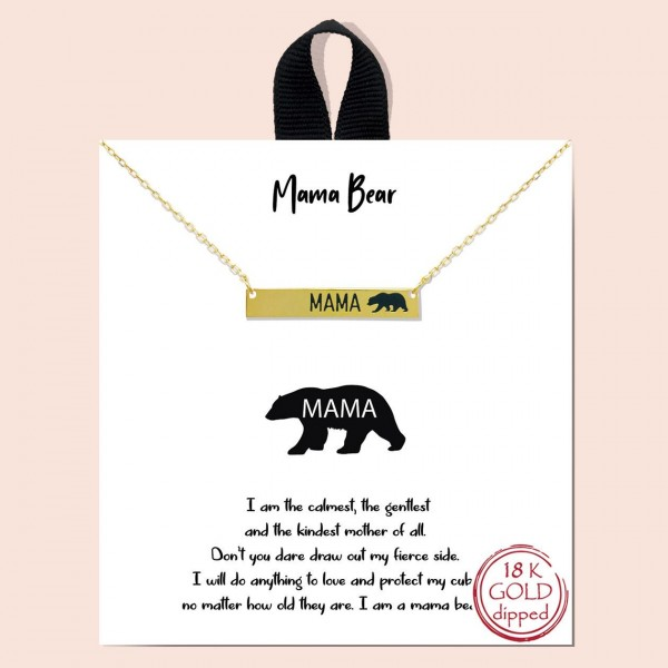"Short Metal Necklace Featuring Mama Bear Bar Pendant.   - Approximately 18"" Long"