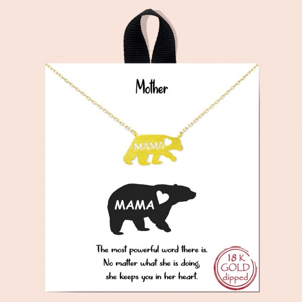 """Short Metal Necklace Featuring Mama Bear Pendant.   - Approximately 18"""" Long"""
