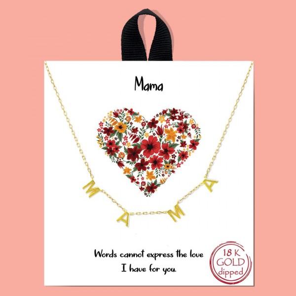 "Short Mama Station Necklace.   - Approximately 18"" Long"