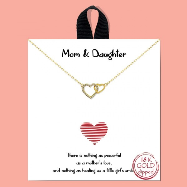 """Short Metal Mom & Daughter Pave Heart Intertwined Necklace.   - Approximately 18"""" Long"""