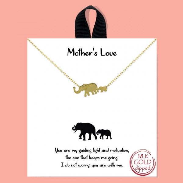 """Short Metal """"Mother's Love"""" Necklace Featuring Elephant Pendant.   - Approximately 18"""" in Length - Each Necklace Comes on a Card that Says """"You are my guiding light and motivation, the one that keeps me going. I do not worry you are with me.""""  - Great for Gifts"""