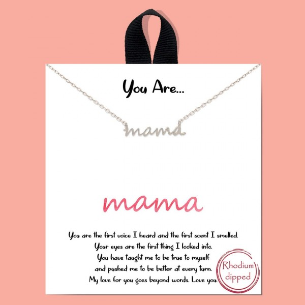 """Short Metal Necklace Featuring Pendant that Says """"Mama"""".   - Approximately 18"""" Long"""