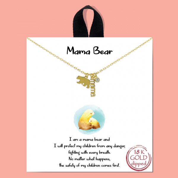 """Short Metal """"Mama Bear"""" Necklace Featuring Bear, Mama, and Cubic Zirconia Pendants.   - Approximately 18"""" in Length - Each Necklace Comes on a Card that Says """"I am a mama bear and I will protect my children from any danger, fighting with every breath. No matter what happens, the safety of my children comes first.""""  - Great for Gifts"""
