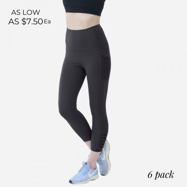 Athletic Capri Leggings Featuring Side Pockets and Mesh Accents. (6 Pack)  - Spandex Compression Fit - Breathable Moisture Wicking Fabric - High Waist Design - Features Two Side Pockets - 6 Pairs Per Pack - Sizes: 1 S / 2 M / 2 L / 1 XL