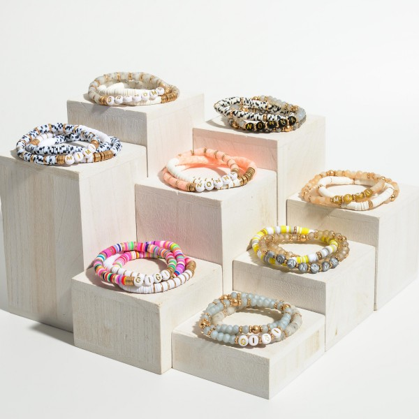 """Set of Three Heishi Bead Bracelets Featuring Letter Beads that Spell """"Grandma"""".   - Approximately 2.5"""" in Diameter"""