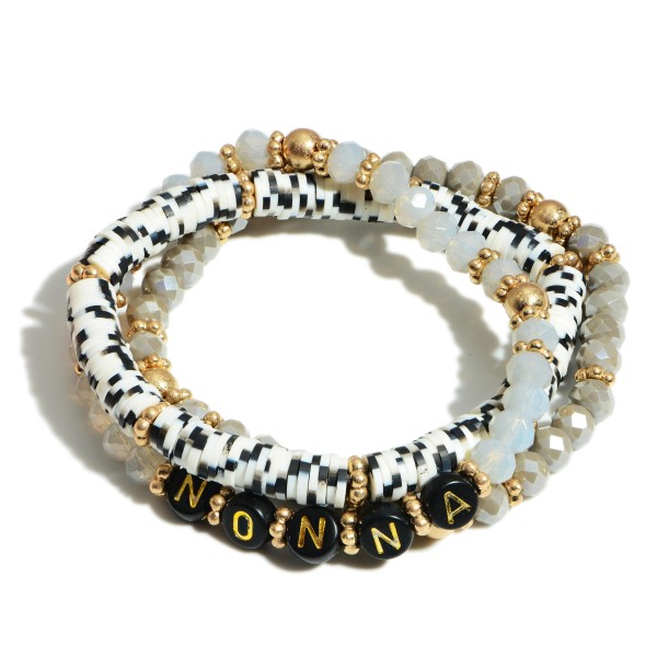 "Set of Three Heishi Bead Bracelets Featuring Letter Beads that Spell ""Grandma"".   - Approximately 2.5"" in Diameter"