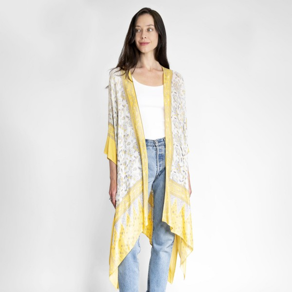 Floral Print Kimono.   - One Size Fits Most 0-14 - 100% Viscose