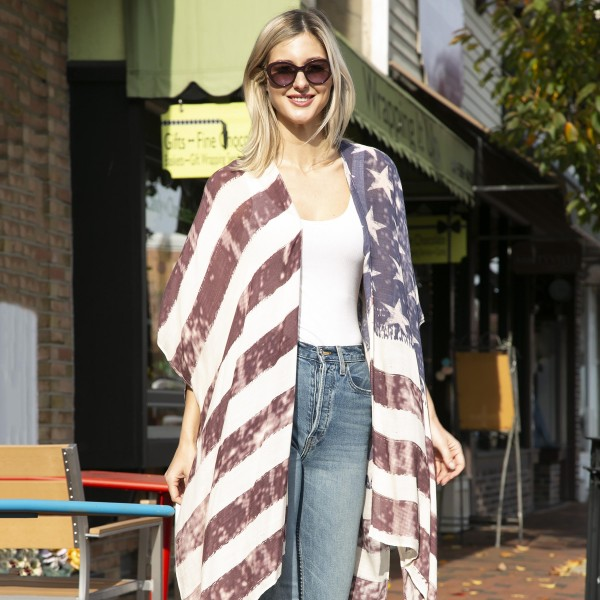 American Flag Print Kimono.   - One Size Fits Most 0-14 - 100% Viscose