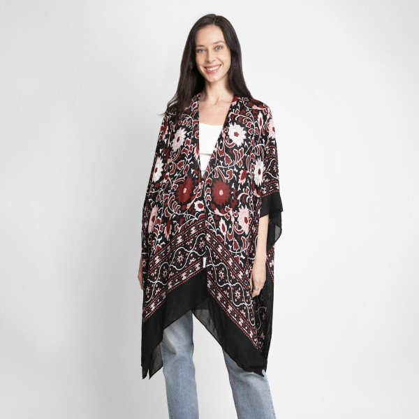 Floral Print Kimono.   - One Size Fits Most - 100% Viscose