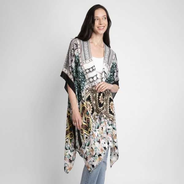 Floral Mixed Print Kimono.   - One Size Fits Most  - 100% Viscose