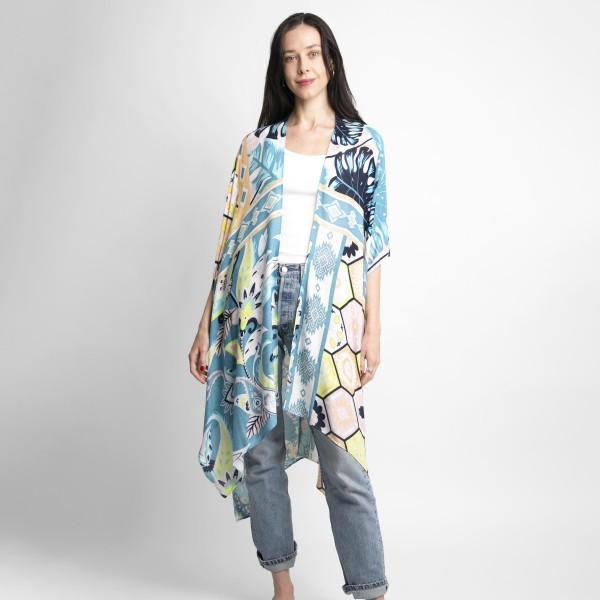 Lightweight Printed Kimono.   - 100% Viscose - One Size Fits Most 0-14