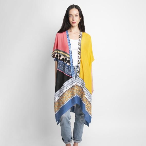 Lightweight Mixed Print Kimono.   - 100% Viscose - One Size Fits Most 0-14