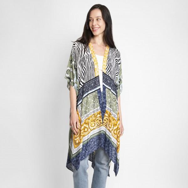 Paisley & Animal Print Kimono.   - One Size Fits Most - 100% Vscose