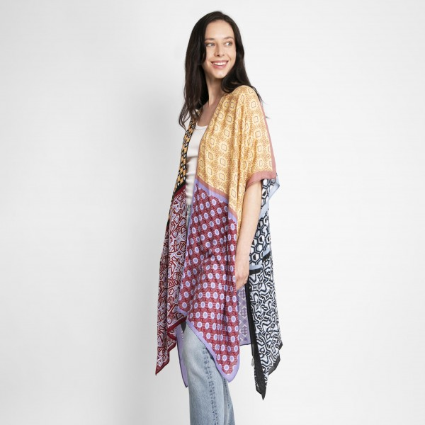 Mixed Print Kimono.   - One Size Fits Most - 100% Viscose