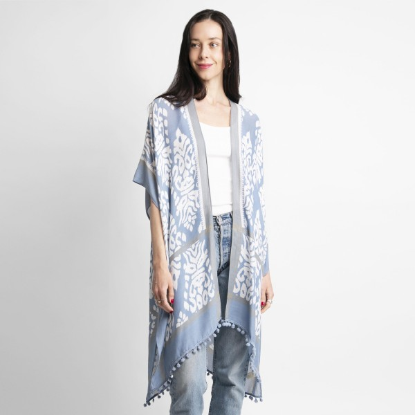 Lightweight Patterned Kimono Featuring Pom-Pom Accents.   - One Size Fits Most 0-14 - 100% Viscose