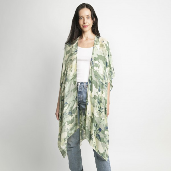Tropical Print Lightweight Kimono.   - 100% Viscose - One Size Fits Most 0-14