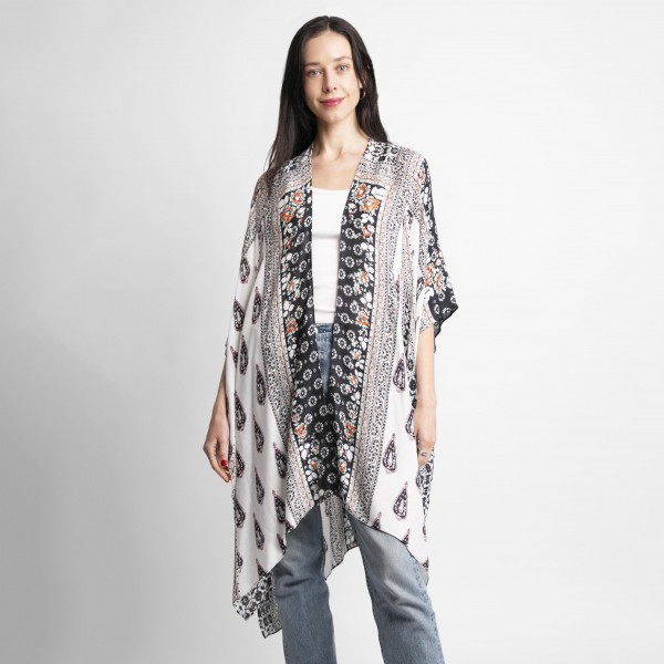 Floral Print Kimono.   - 100% Viscose - One Size Fits Most 0-14