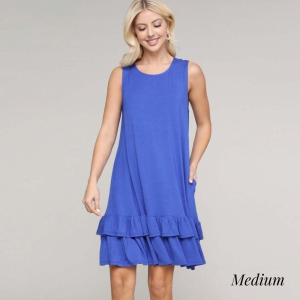 """Women's Sleeveless Ruffle Pocket Dress. ( Size Medium)  - Sleeveless  - Crew neck - Side pockets keep your hands warm  - Ruffled hem  - Knee length  - Soft and comfortable fabric with stretch  - Pull on styling  - Style with heels for a night out  - Imported  - Approximately 30"""" L  - 95% Rayon / 5% Spandex - Size Medium"""