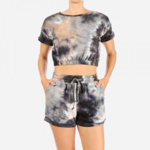 Tie-Dye Loungewear Set. (6 Pack)  - 92% Polyester, 8% Spandex - Crop Top Has Elastic Band on Bottom - Shorts Have Elastic Waistband & Drawstring  - Shorts Feature Two Front Pockets