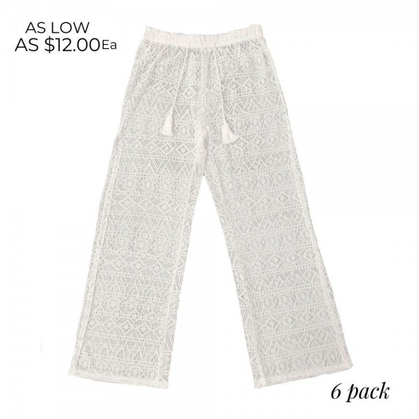 Lace Pants Featuring Side Slit Design & Drawstring Waistband. (6 Pack)  - 55% Cotton, 45% Polyester - Sizes: 3-XS/S, 3-M/L