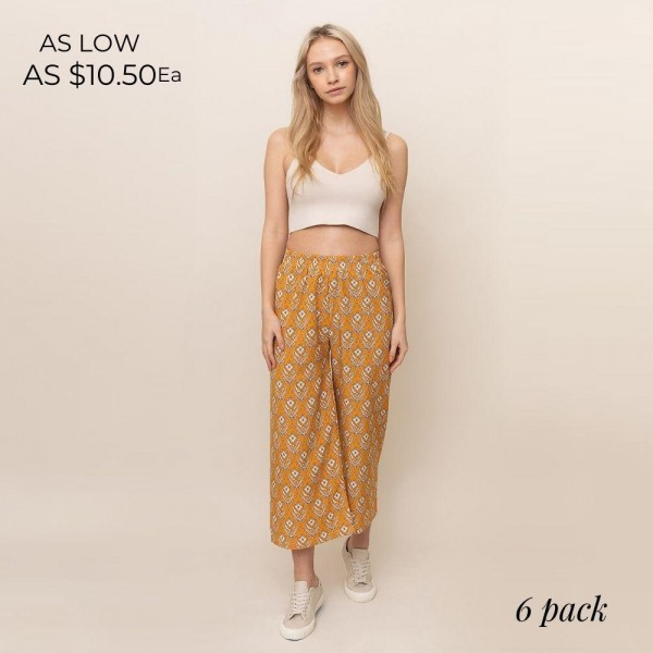 Floral Print Palazzo Pants. (6 Pack)  - 55% Cotton, 45% Polyester - Sizes: 3 XS/S, 3 M/L