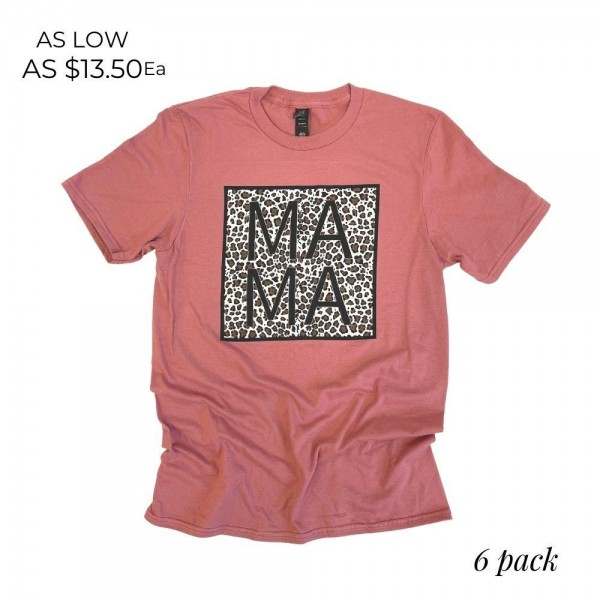 MAMA Leopard Print Graphic Tee. (6 Pack)  - Printed on an Anvil Brand Tee - Color: Mauve - 6 Shirts Per Pack - Sizes: 1:S 2:M 2:L 1:XL - 100% Cotton