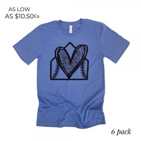 Home Base Leopard Heart Graphic Tee. (6 Pack)   - Printed on a Bella Canvas Brand Tee - Color: Blue - 6 Shirts Per Pack - Sizes: 1:S 2:M 2:L 1:XL - 100% Cotton