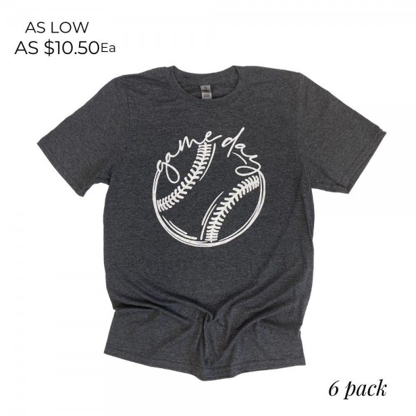 Baseball Gameday Graphic Tee. (6 Pack)   - Printed on a Gildan Brand Tee - Color: Heather Grey - 6 Shirts Per Pack - Sizes: 1:S 2:M 2:L 1:XL - 65% Cotton / 35% Polyester