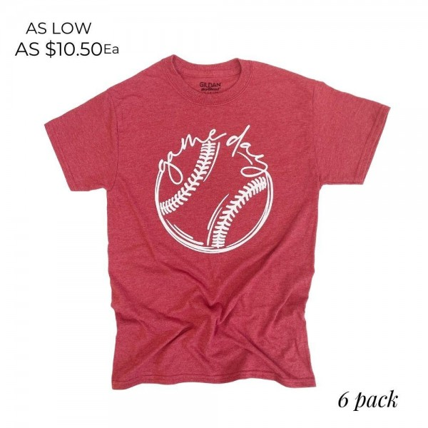 Baseball Gameday Graphic Tee. (6 Pack)   - Printed on a Gildan Brand Tee - Color: Scarlet - 6 Shirts Per Pack - Sizes: 1:S 2:M 2:L 1:XL - 65% Cotton / 35% Polyester