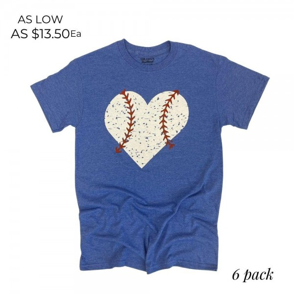 Distressed Baseball Heart Graphic Tee. (6 Pack)   - Printed on a Gildan Softstyle Brand Tee - Color: Heather Royal  - 6 Shirts Per Pack - Sizes: 1:S 2:M 2:L 1:XL - 65% Cotton / 35% Polyester