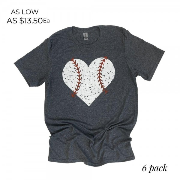 Distressed Baseball Heart Graphic Tee. (6 Pack)  - Printed on a Gildan Softstyle Brand Tee - Color: Dark Heather Grey - 6 Shirts Per Pack - Sizes: 1:S 2:M 2:L 1:XL - 65% Cotton / 35% Polyester