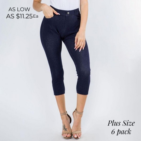 Plus-Size Mid-Rise Capri Jeggings. (6 Pack)  • Faux front button closure • Mid-rise • 5 Pockets • Faded color accents • Skinny capri leg • Super soft, stretchy • Pull up styling  Care: Hand Wash Cold, Tumble Dry Low, Do Not Bleach or Iron  Composition: 60% Cotton, 33% Polyester, 7% Spandex  Pack Breakdown: 6pcs/pack. 3:L/XL - 3:XL/XXL