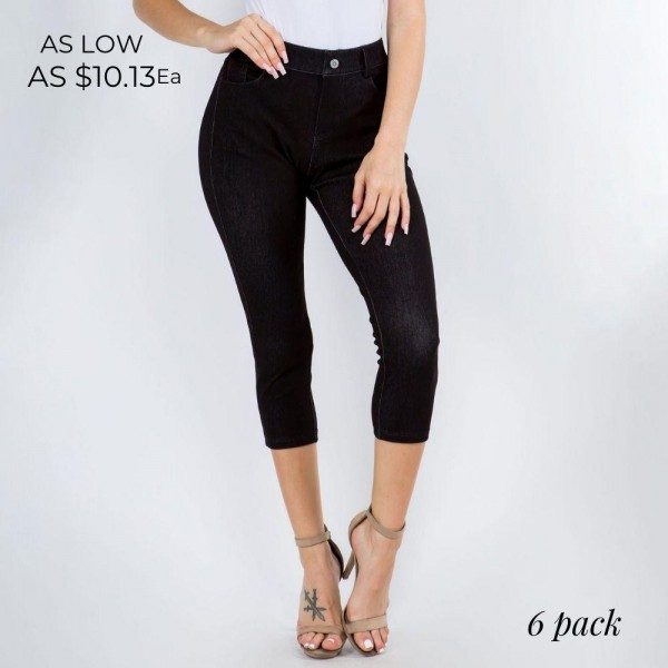 Mid-Rise Capri Jeggings. (6 Pack)  • Faux Front Button Closure • Mid-rise • 5 Pockets • Faded color accents • Skinny capri leg • Super soft, stretchy • Pull up styling  Care: Hand Wash Cold, Tumble Dry Low, Do Not Bleach or Iron  Composition: 60% Cotton, 33% Polyester, 7% Spandex  Pack Breakdown: 6pcs/pack. 3SM:3ML
