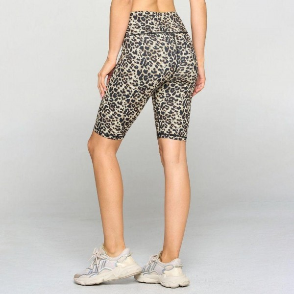Active Cheetah Print Biker Shorts. (6 Pack)   • Flat high rise waistband smoothes & supports the tummy • Hidden waistband pocket for keys, phone, cash • Vibrant cheetah print • 4-way stretch fabric for a move-with-you feel • Flat lock seams prevent chafing • Triangular Cotton Gusset Lining • Moisture wick fabric • Squat Proof • Fits like a glove • Full length • Pull on/off styling • Wear for yoga, gym, running, or lounge  Composition: 46% Polyester, 41% Nylon, 13% Spandex  Pack Breakdown: 6pcs/pack. 2S: 2M: 2L