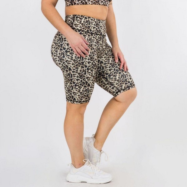 Plus-Size Active Cheetah Print Biker Shorts. (6 Pack)   • Flat high rise waistband smoothes & supports the tummy • Hidden waistband pocket for keys, phone, cash • Vibrant cheetah print • 4-way stretch fabric for a move-with-you feel • Flat lock seams prevent chafing • Triangular Cotton Gusset Lining • Moisture wick fabric • Squat Proof • Fits like a glove • Full length • Pull on/off styling • Wear for yoga, gym, running, or lounge  Composition: 46% Polyester, 41% Nylon, 13% Spandex  Pack Breakdown: 6pcs/pack. 3XL:2XXL:1XXXL