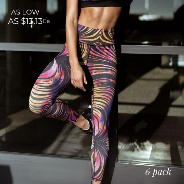 Striped Athletic Leggings Featuring High-Rise Waistband. (6 Pack)  • High rise waistband that lies flat & supports the tummy • Hidden pocket on waist for phone, keys & cash • Fits like a glove • 4-way stretch for more movement • Full length design • Squat Proof • Flat lock seams prevent chafing • Triangular Cotton Gusset Lining • Pull on/off styling  Composition: 46% Polyester, 41% Nylon, 13% Spandex  Pack Breakdown: 6pcs/pack. 2S: 2M: 2L