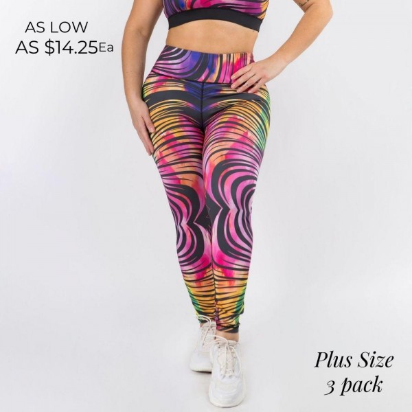 Plus-Size Striped Athletic Leggings Featuring High-Rise Waistband. (3 Pack)  • High rise waistband that lies flat & supports the tummy • Hidden pocket on waist for phone, keys & cash • Fits like a glove • 4-way stretch for more movement • Full length design • Squat Proof • Flat lock seams prevent chafing • Triangular Cotton Gusset Lining • Pull on/off styling  Composition: 46% Polyester, 41% Nylon, 13% Spandex  Pack Breakdown: 3pcs/pack. XL