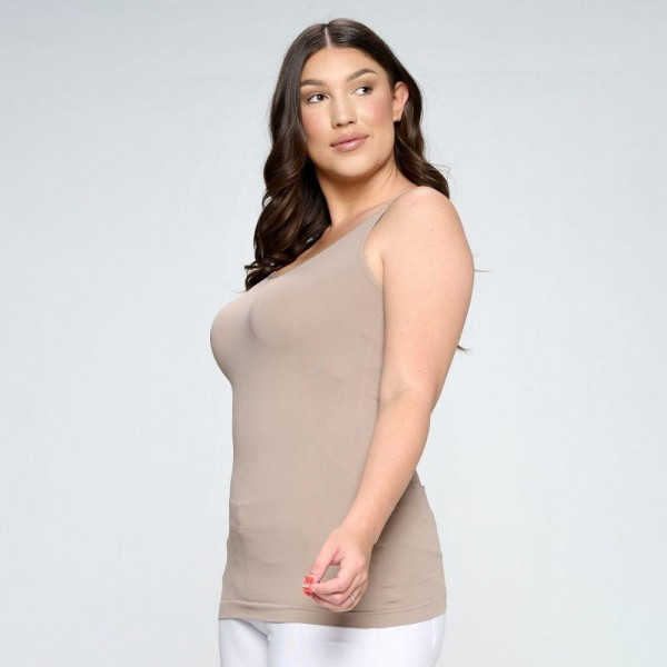 Plus-Size Women's Seamless Reversible V-Neck Tank Top.   - Wide shoulder straps  - V-neckline  - Back scoop neck  - Fitted silhouette  - Seamless design  - Buttery soft fabrication with stretch  - Pull on/off  - Longline hem  - One size fits most 0-14  - 92% Nylon, 8% Spandex