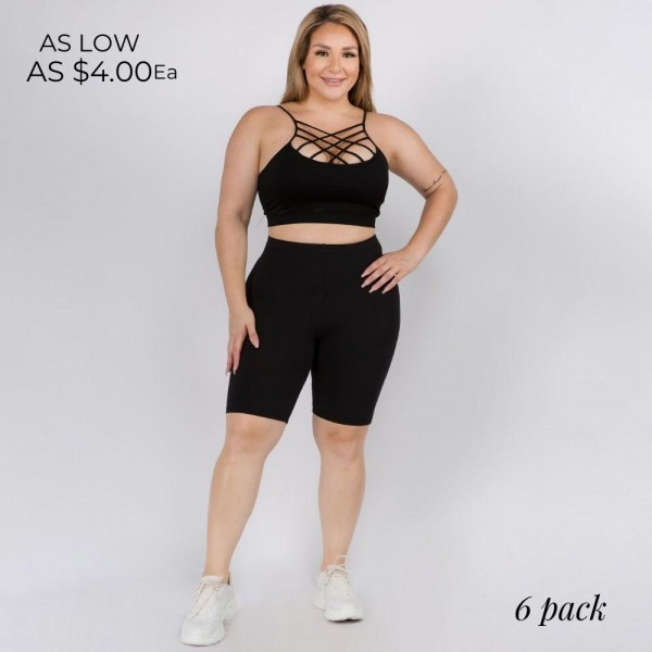Plus-Size High Rise Biker Shorts. (6 Pack)  • Peach Skin • Short leg design • Comfortable and easy pull-up style • Solid color, Very Stretchy • Fits like a Glove  Content: 95% Polyester, 5% Spandex  Pack Breakdown: 6pcs/pack. 6-L/XL