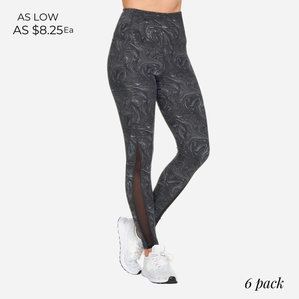 Candy Swirl Full-Length Leggings With Mesh & Pockets. (6 Pack)  - High Waist - 2 Outside Pockets - Made from soft 4-way moisture-wicking polyester - Printed Swirl Detail - High Quality Fabric - Squat Test Approved! - All-Purpose leggings are great for all exercises or everyday casual wear - Material: 88% Polyester, 12% Spandex - Sizes: 1-S, 2-M, 2-L, 1-XL