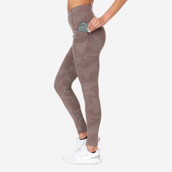 Camouflage Dots High Waisted Full-Length Leggings With Pockets. (6 Pack)   - 2 Outside Pockets - Made from soft 4-way moisture-wicking polyester - Dotted Camo Print Detail - Squat Test Approved! - All-purpose leggings are great for all exercises or everyday casual wear - Material: 88% Polyester, 12% Spandex - Sizes: 1-S, 2-M, 2-L, 1-XL