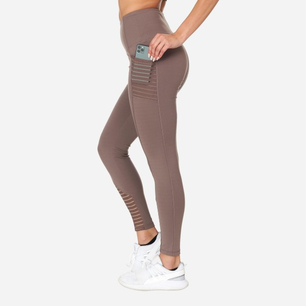 Full-Length High-Waisted Leggings With Sheer Mesh & Pockets. (6 Pack)  - High Waist - 2 Outside Mesh Pockets - Made from soft 4-way moisture wicking polyester - Sheer Mesh Detail - High Quality Fabric - Squat Test Approved! - All-purpose leggings are great for all exercises or everyday casual wear - Material: 88% Polyester, 12% Spandex - Sizes: 1-S, 2-M, 2-L, 1-XL