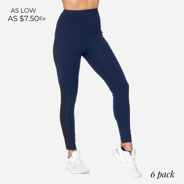 Full-Length Leggings With Shimmer Mesh & Pockets. (6 Pack)  - 2 Outside Pockets - Made from soft 4-way moisture-wicking polyester - Shimmer Mesh Panel Detail - High-Quality Fabric - Squat Test Approved! - All purpose leggings are great for all exercises or everyday casual wear - Material: 88% Polyester, 12% Spandex - Sizes: 1-S, 2-M, 2-L, 1-XL