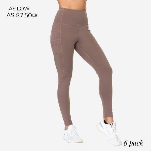 Full-Length High-Waisted Leggings With Double Pockets. (6 Pack)  - 2 Outside Double Pockets - Made from soft 4-way moisture-wicking polyester - Dual Pocket Design - High Quality Fabric - Squat Test Approved! - All-Purpose leggings are great for all exercises or everyday casual wear - Material: 88% Polyester, 12% Spandex - Sizes: 1-S, 2-M, 2-L, 1-XL